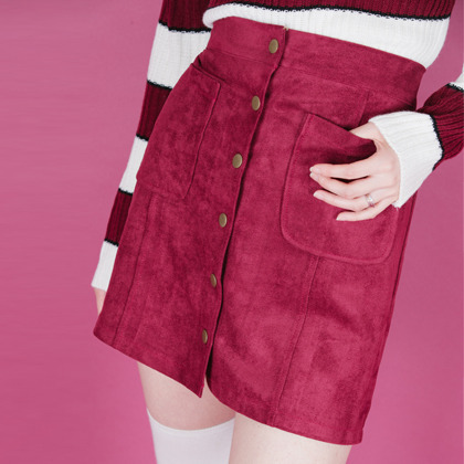 Suede Button-Front Mini Skirt