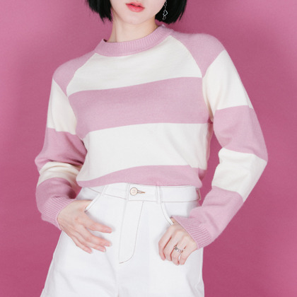 Two-Tone Raglan Knit Sweater