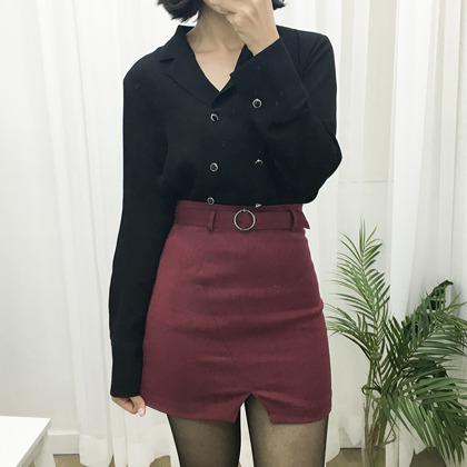 Double-Breasted Long Sleeve Blouse