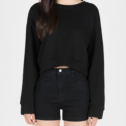 365 BASICBasic Round Neck Cropped Sweatshirt