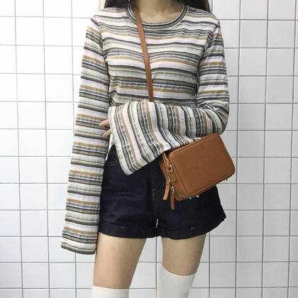 Striped Extended Bell Sleeve Top