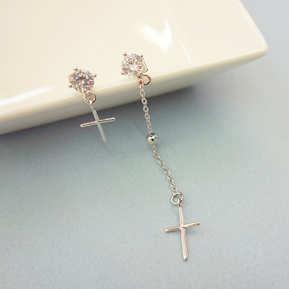 Dangling Cross Rhinestone Stud Earrings