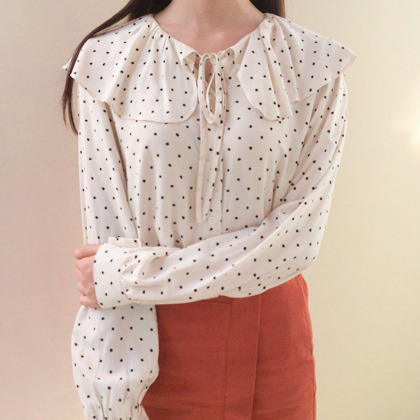Polka Dot Bertha Collar Blouse