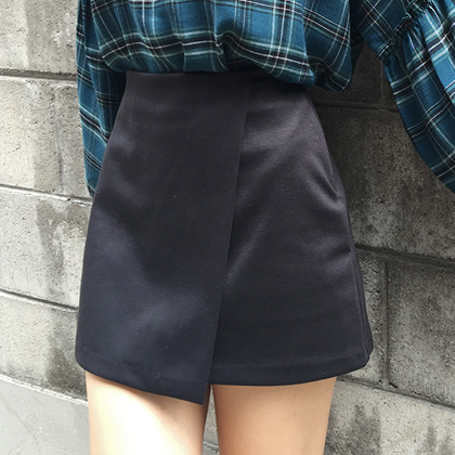 Solid Tone Faux Wrap Mini Skirt