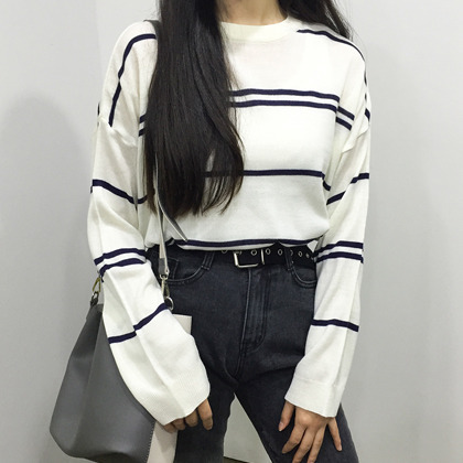 Striped Drop Shoulder Knit Top