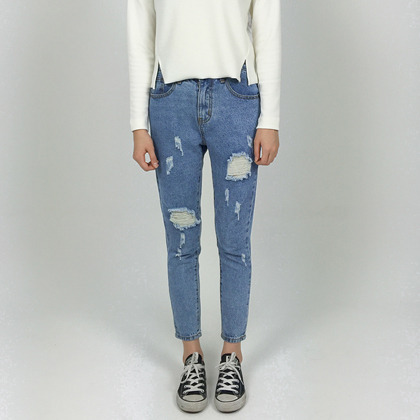 Damaged Ankle Cut Jeans