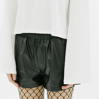 Synthetic Leather Elastic Waist Shorts