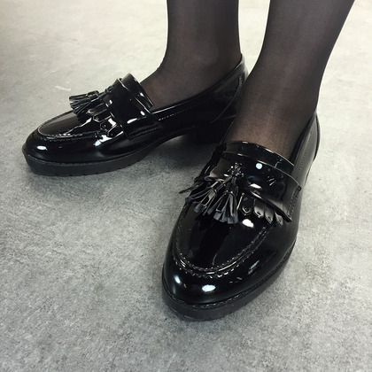 Black Enamel Tasseled Loafers