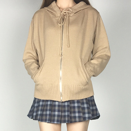Knitted Zip-Up Hoodie