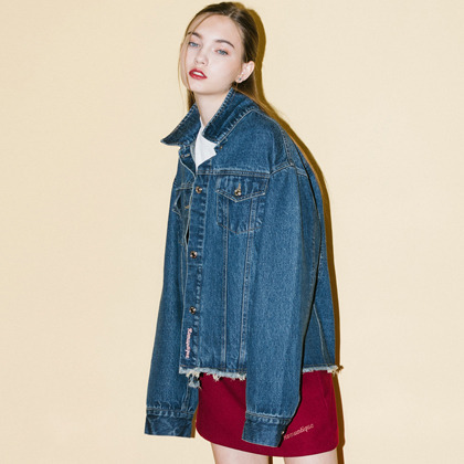 HIDE AND SEEKFrayed Hem Button-Down Denim Jacket