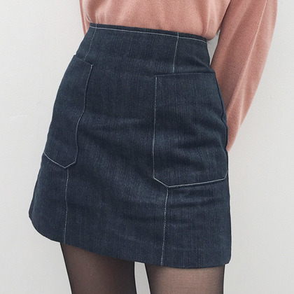 Denim Patch Pocket A-Line Mini Skirt