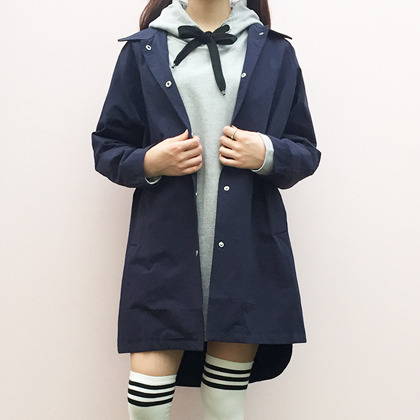Basic Snap Front Collared Coat