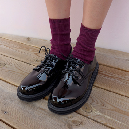 Faux Patent Leather Lace-Up Loafers