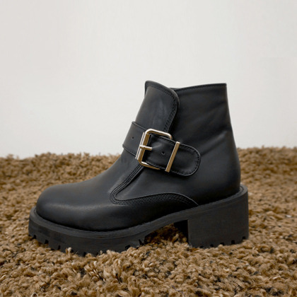 Black Buckled Heeled Ankle Boots