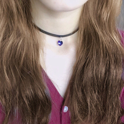 Heart Pendant Leather Choker