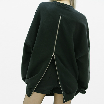 Zipped Back Oversized Sweatshirt