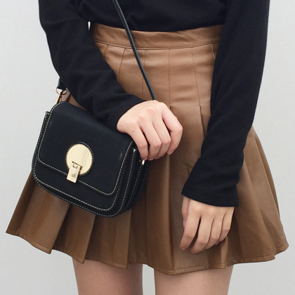 Gold Tone Round Accent Crossbody Bag