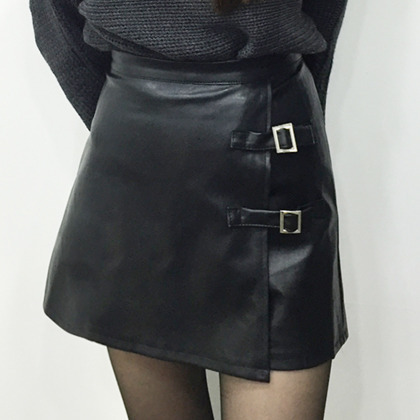 Faux Leather Buckled Strap Detail Mini Skirt