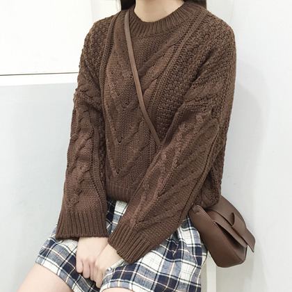 Loose Patterned Knit Sweater