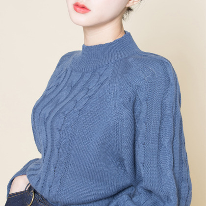 Mock Neck Twist Knit Sweater