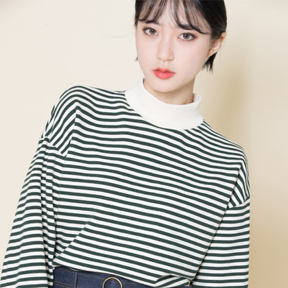 Contrast High Neck Striped Top