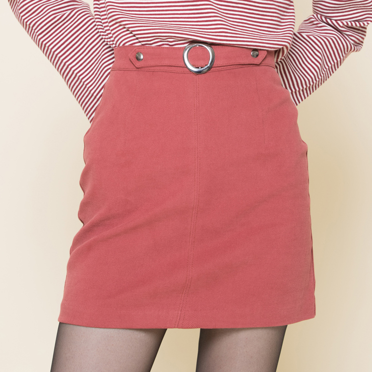 Circle Buckle Front Accent Mini Skirt