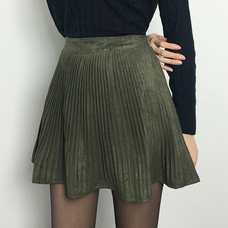 Accordion Pleat Flared Mini Skirt