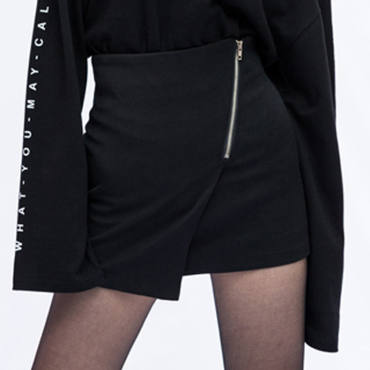 PAST PASSIONBlack Off-Center Zip Front Detail Mini Skirt