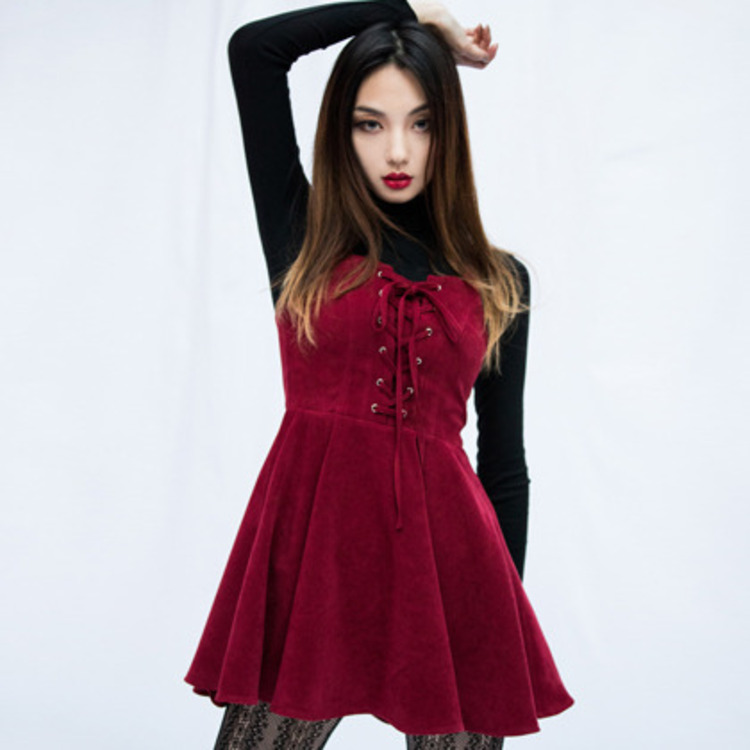 PAST PASSIONLace-Up Front Flared Sleeveless Dress
