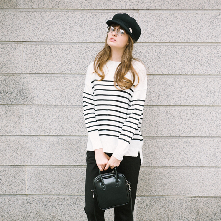 Dipped Hem Stripe Patterned Knit Sweater