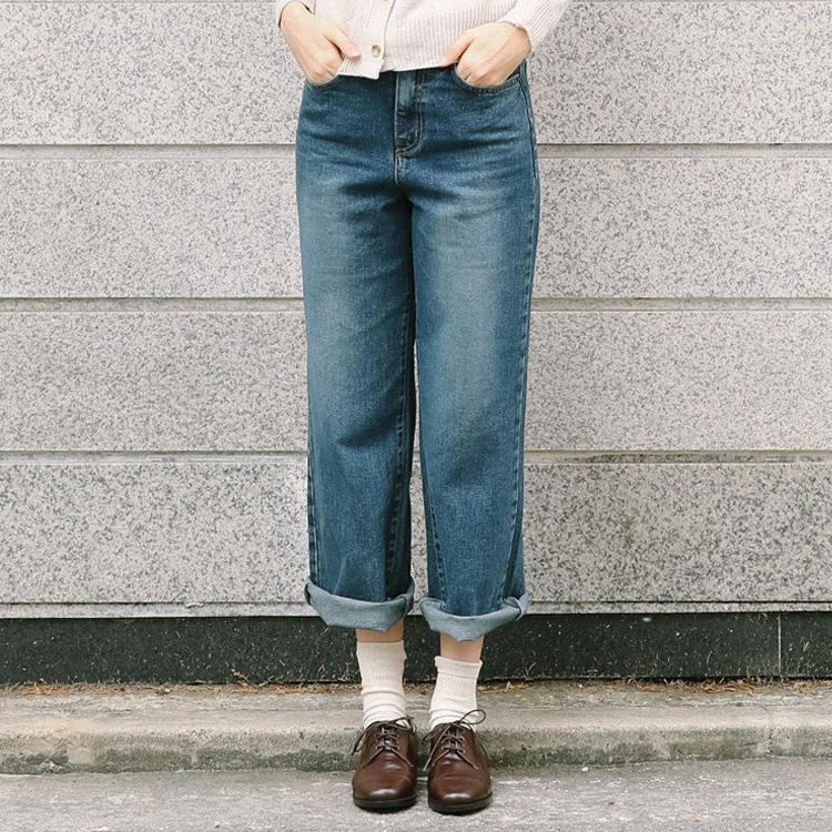 Faded Wash Wide Leg Jeans