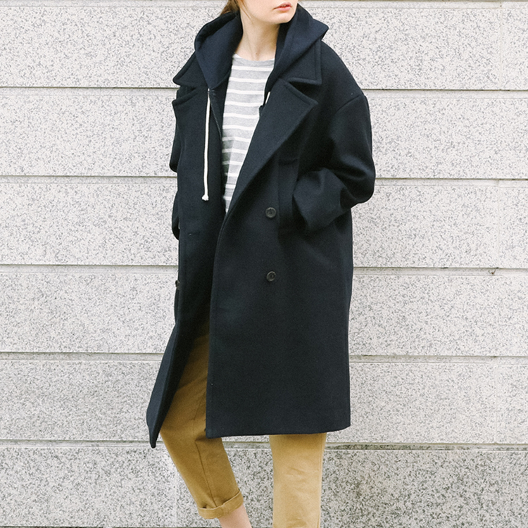 Quilt Lined Wide Lapel Coat