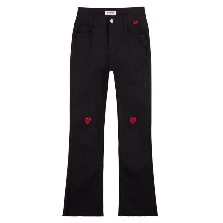 HEART CLUB5-Pocket Frayed Hem Boot Cut Pants