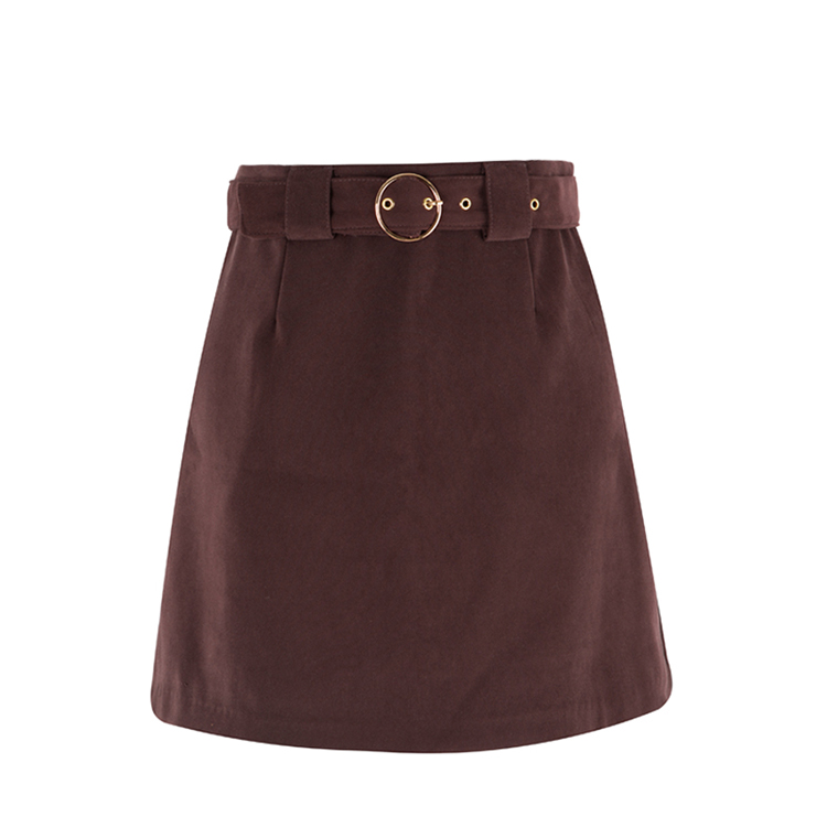 Circle Buckled Belt Detail Solid Tone Mini Skirt