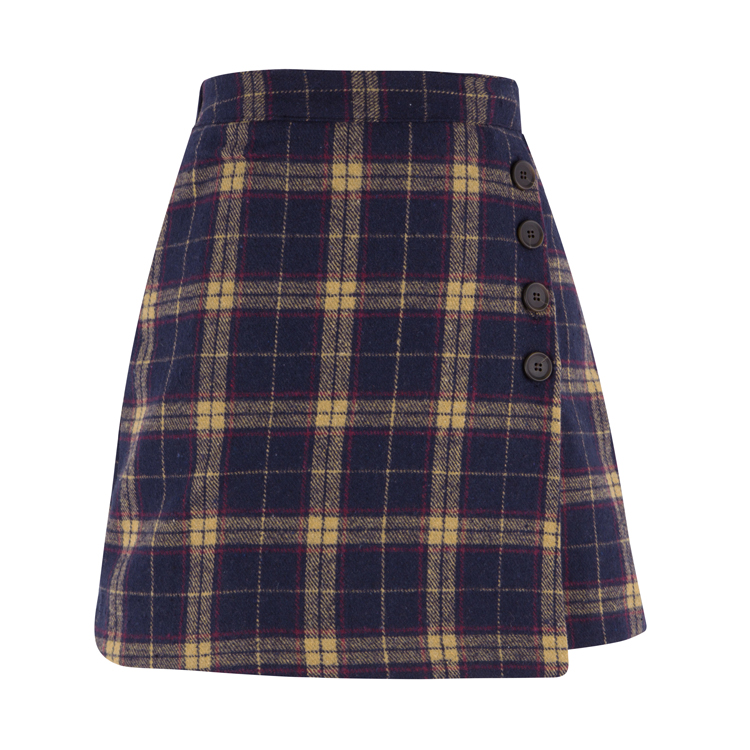 Check Button Detailed Faux Wrap Skirt