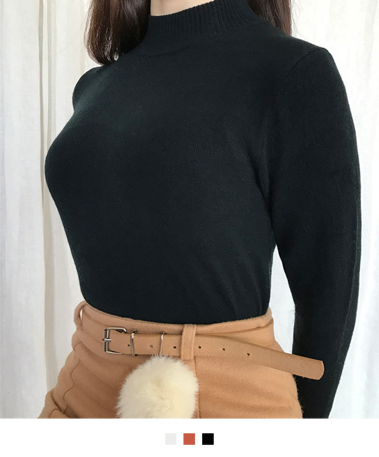 Solid-Colored Turtleneck Pullover