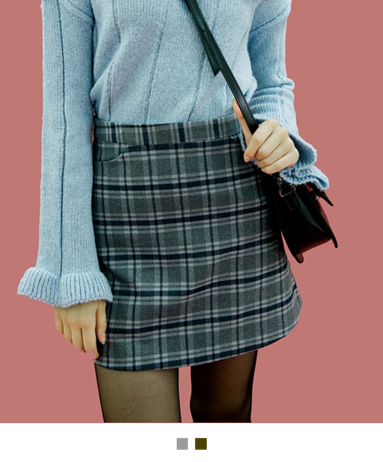 Check Side Pocket Detailed Mini Skirt