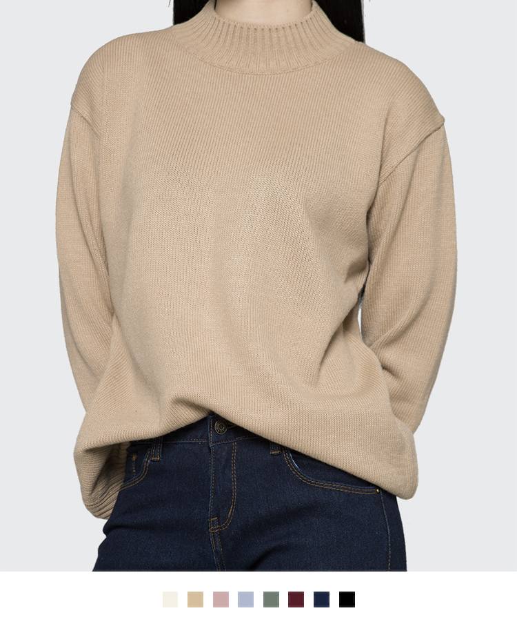 365 BASICEssential Mock Neck Knit Sweater