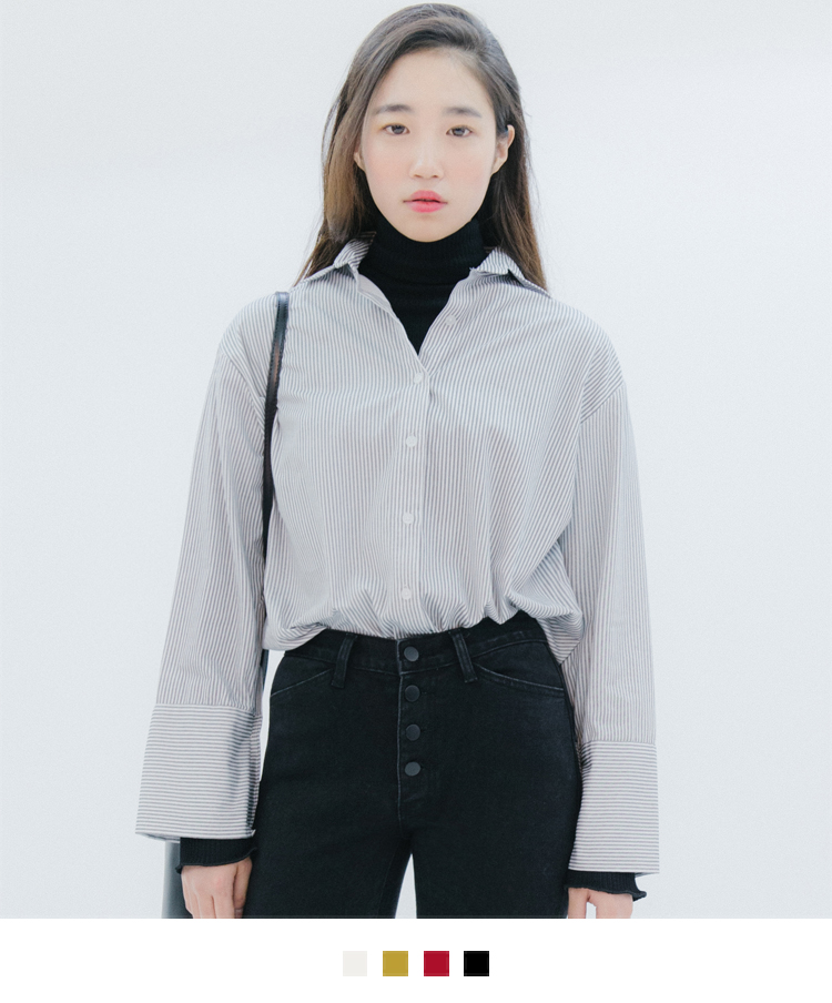 Button-Up Wide Cuff Shirt