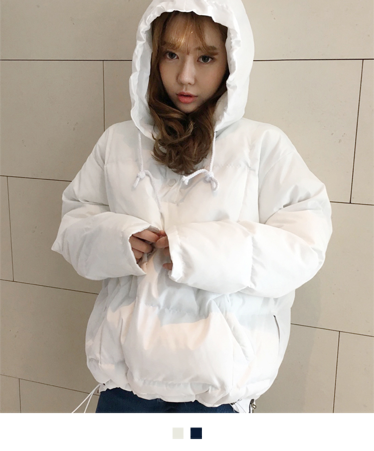 Side Zippered Hooded Padded Jacket