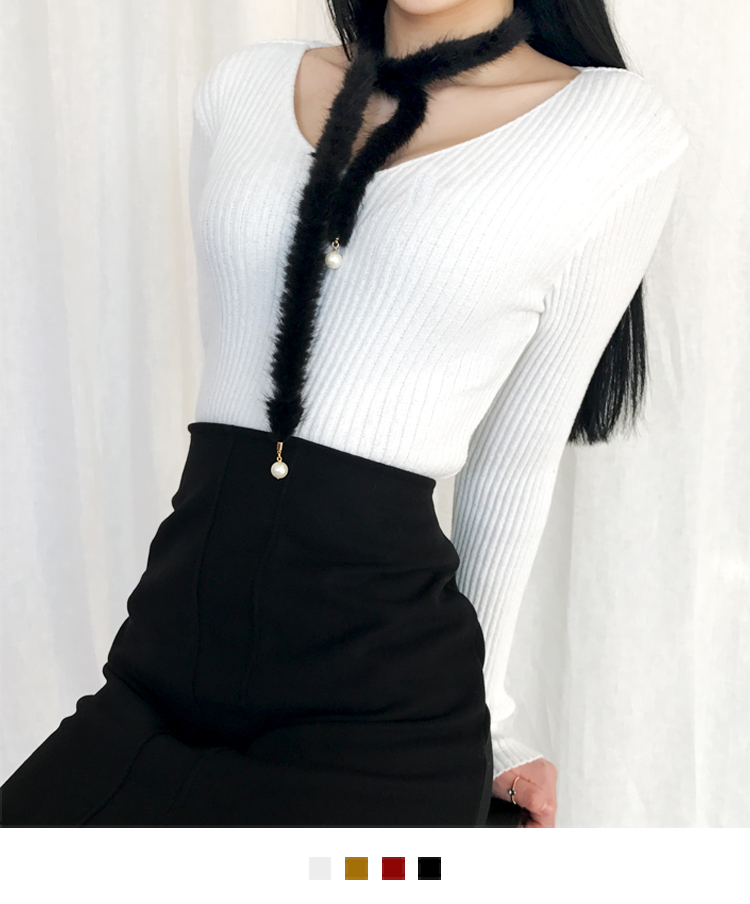 Slim Ribbed Knit V-Neck Top
