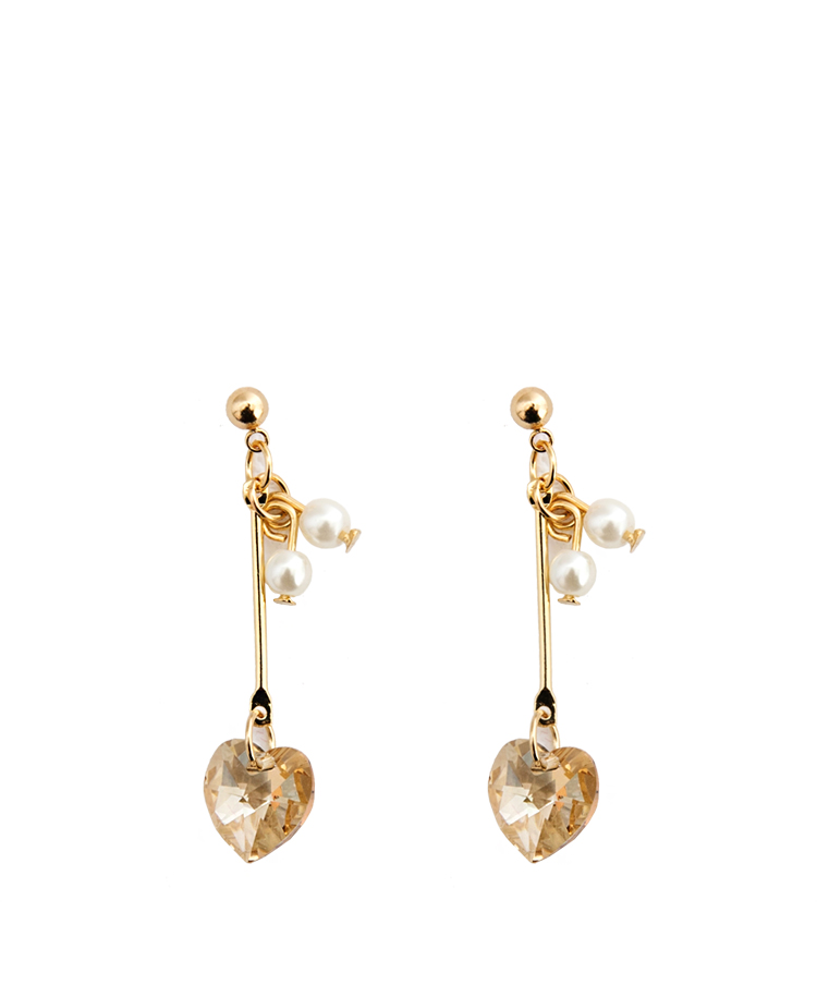 Dangling Rhinestone Heart With Faux Pearl Earrings