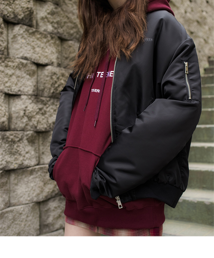 Shirred Sleeve Zip-Up Blouson Jacket