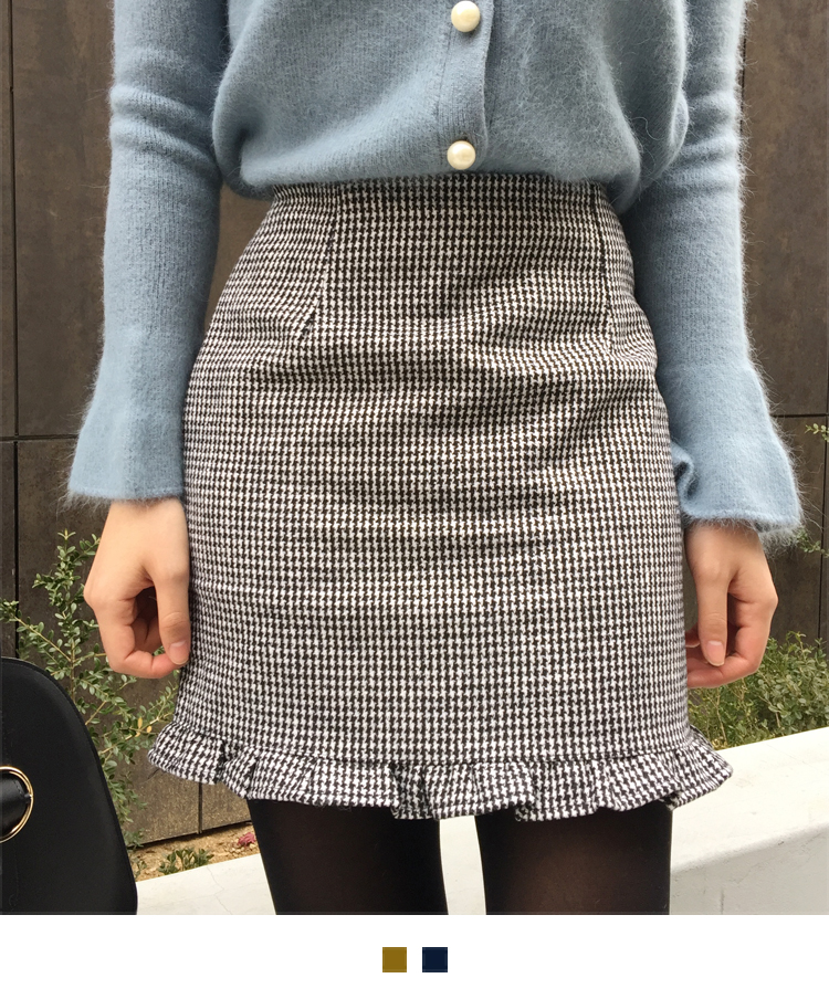 Houndstooth Ruffled Hem Mini Skirt