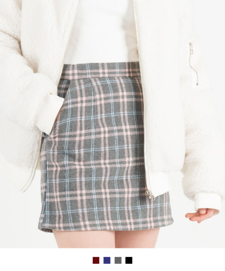 Zip-Back Check Mini Skirt