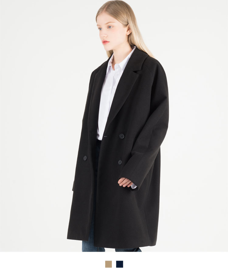 Raglan Sleeve Double-Breasted Coat