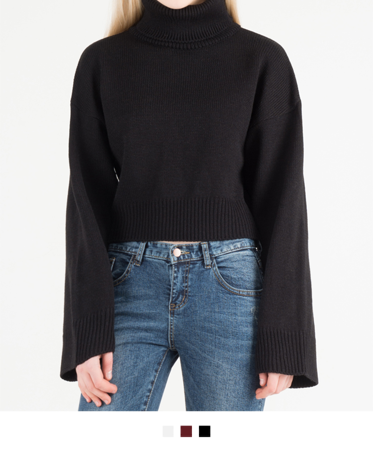 Cropped Turtleneck Knit Sweater