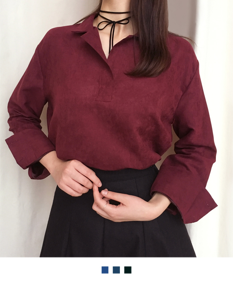 Faux Suede Johnny Collar Blouse