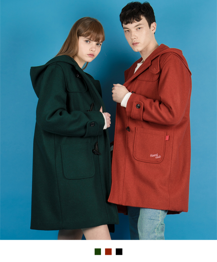 HEART CLUBEmbroidered Logo Hooded Duffle Coat