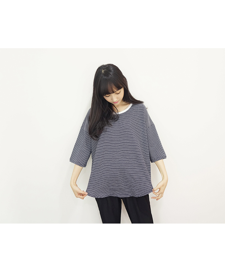 99bunnyStriped 3/4 Sleeve Boxy Tee